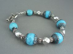 Turquoise Blue Beaded Bracelet  Vintage German Beads by AllTwisted