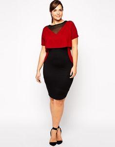 ASOS CURVE – Exklusives, figurbetontes Kleid in Blockfarben mit Lagendesign