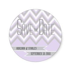 Modern chevron grey, purple wedding Save the Date Stickers