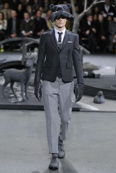Bear with Salmon Hat. Thom Browne Men's RTW Fall 2014