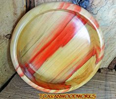 Reclaimed Flame Box Elder Wood Bowl.  The red is natural caused by a fungus in the tree.