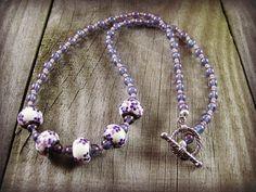 Purple Beaded Necklace Glass Beads Seed Bead Jewelry Beaded Jewelry Handmade Jewelry Large Hole Beads White Flower European Beads #etsymnt #jewelry