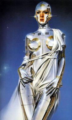 Pintura de robot femenino