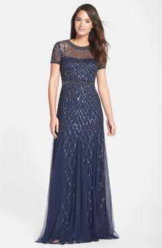 Adrianna Papell Beaded Mesh Gown (Regular