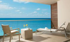 The view from a Junior Suite Preferred Club Ocean View Terrace at Breathless Riviera Cancun Resort & Spa.
