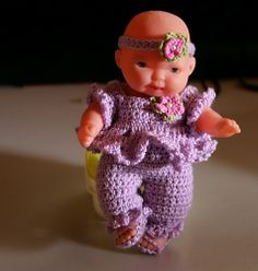 "Lilac Outfit for 5"" Berenguer Doll pattern by Brianette Botha"