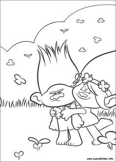 Ausmalbilder Trolls Branch Poppy 01