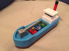 Wooden toy cargo ship