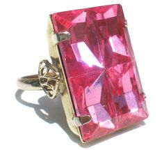 Bright Pink Glass Statement Ring on Silver Tone by RibbonsEdge