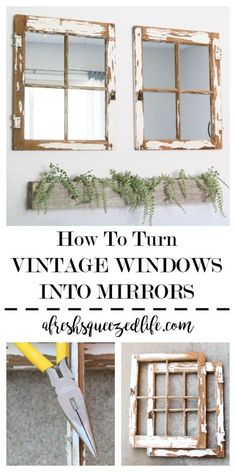 Need some inspiration to DIY an old window? Upcycling a window into decor is simple. Let me show you how to turn a vintage window into a mirror! Old windows are easy to find, on budget and oh so cute! HOW TO TURN A VINTAGE WINDOW INTO A MIRROR Diy Furniture, Diy Mirror, Vintage Home Decor, Vintage House, Vintage Windows, Home Diy, Frame Decor, Vintage Decor, Upcycled Home Decor