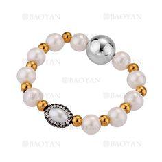 pulsera de perla mezlca bola dorado y plateado acero inoxidable -SSBTG504347
