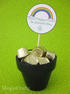 St. Patrick's Day Rollos in black flower pot as gold