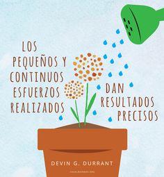 Los pequeños y continuos esfuerzos realizados dan resultados precisos. -Devin G. Durrant