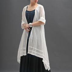 Loose Fitting Cotton And Linen Long Shirt Blouse for Women Short Sleeved Women Clothing - Women Dress
