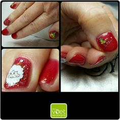 Christmas Nails #Magnetic #gelpolish #RudolfsGlitterNose #HolograficSilver #waterdecals