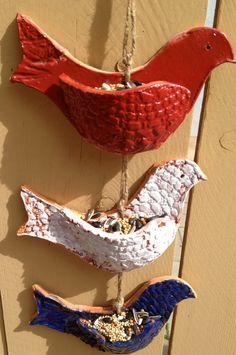 Patriotic 3 Bird Ceramic Feeder / Wall Pocket . Handmade with Terra Cotta Red Clay