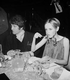 Twiggy eating cantaloupe at the Waldorf Astoria in 1967