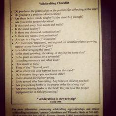 wildcrafting checklist
