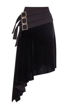 Asymmetrical Velour Skirt by ANTONIO BERARDI for Preorder on Moda Operandi
