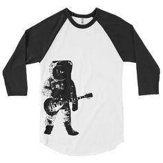 28c8fbbf4e31d Astronaut Guitar Baseball Tee - American Apparel T-Shirt