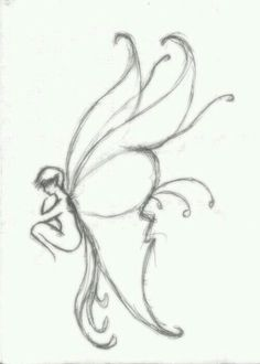 I try to draw it.,and I draw it. Fairy Drawings, Art Drawings Sketches Simple, Pencil Art Drawings, Cool Drawings, Easy Fairy Drawing, Indie Drawings, Photographie Street Art, Arte Indie, Arte Sketchbook