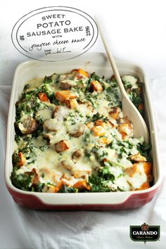 Sweet Potato Sausage Bake with Gruyere Cheese Sauce (easy dinner recipe! Sweet Potato Recipes, Pork Recipes, Fall Recipes, Dinner Recipes, Cooking Recipes, Healthy Recipes, Sweet Potato Sausage Recipe, Healthy Meals, Healthy Food
