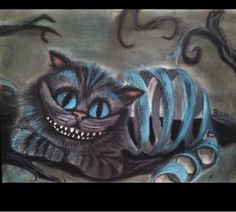 This is such a cool drawing of the Chelshire cat from Alice In Wonderland!!