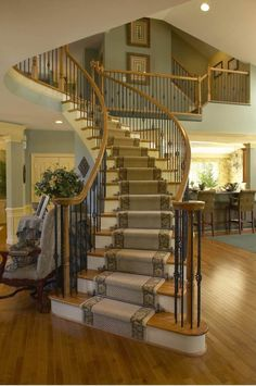Inspiring to Stair Runners Ideas for Your Stairs at Home: Spiral Staircase In Cozy Traditional Staircase Ideas With Open Floor Plan And Stair Runners Also Recessed Lighting With Sloped Ceilings And Wood Handrails For Stairs Plus Gallery Wall Also Banister Carpet Staircase, Spiral Staircase, Staircase Design, Staircase Ideas, Staircase Runner, Wood Handrail, Banisters, Painted Staircases, Traditional Staircase