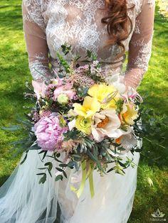 #boho #style #wedding #bouquet #yellow #pink #bukiet #ślubny
