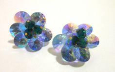 Blue & Green Rivoli Crystal Clip Earrings circa 1960s