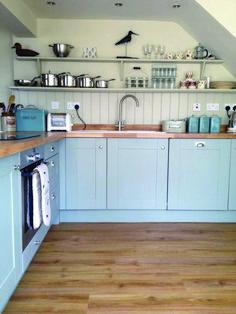 Kitchen A room with a view diss, Hollyhock Cottage, Norfolk - cottage kitchens Home Decor Kitchen, Rustic Kitchen, Kitchen Interior, New Kitchen, Shaker Kitchen, Kitchen Grey, Cottage Kitchens, Home Kitchens, Light Blue Kitchens