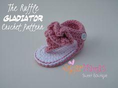 Ravelry: Ruffle Gladiator Baby Sandals pattern by Amanda Moutos
