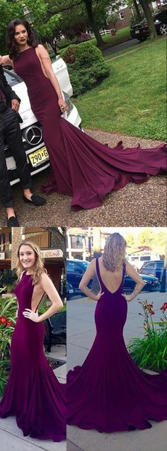 2017 prom dress, mermaid long prom dress with train, burgundy long prom dress, formal evening dress, simple but elegant