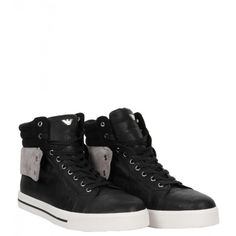 Armani Jeans Black & Grey Suede High Top Trainers ($250) ❤ liked on Polyvore featuring shoes, sneakers, grey suede sneakers, black suede sneakers, grey high tops, grey sneakers y black high top shoes