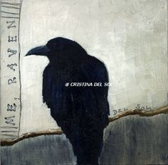 """Raven painting- """"Raven 4""""- Oil Painting by artist Cristina Del Sol"""