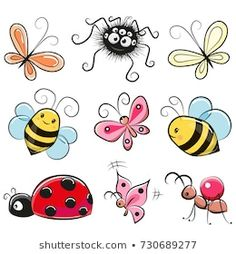 Cartoon Drawings, Easy Drawings, Doodle Art, Butterfly Drawing, Drawing Flowers, Art Flowers, Flowers Garden, Watercolor Flowers, Spring Flowers