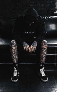 All black everything + tattoos Boy Tattoos, Trendy Tattoos, Life Tattoos, Body Art Tattoos, I Tattoo, Sleeve Tattoos, Tattoos For Guys, Tattoo Legs, Tatoos