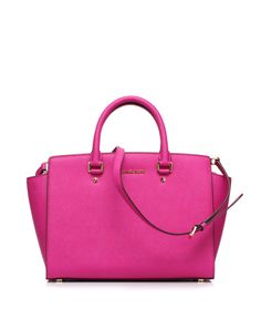 Leather bag with double handles and removable shoulder strap by @Michael Kors