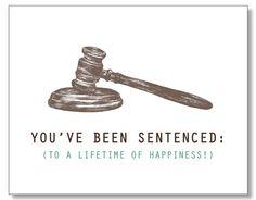 Law-themed wedding greeting card