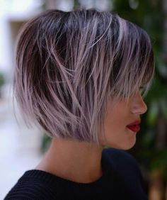 Brown Bob With Pastel Purple Balayage Bobbed Hairstyles With Fringe, Short Choppy Haircuts, Short Hairstyles For Women, Cool Hairstyles, Choppy Bangs, Hairstyles Haircuts, Choppy Layers, Short Bangs, Straight Bangs