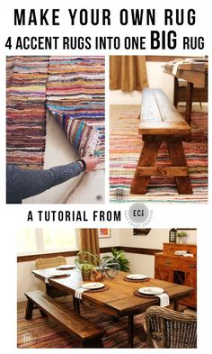 How To Make Your Own Rug from Smaller Rugs DIY Rug Tutorial. Using 4 rag rugs to make one large dining room rug. A great dining room Makeover on a budget Diy Hanging Shelves, Floating Shelves Diy, Build A Farmhouse Table, My New Room, Decoration, Small Rugs, Large Rugs, Diy Home Decor, Diy Hacks