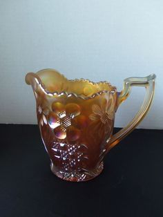 U S Glass Cosmos and Cane Carnival Glass Honey Creamer