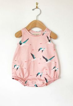 Organic Cotton Bird Print Baby Romper | LolaandStella on Etsy