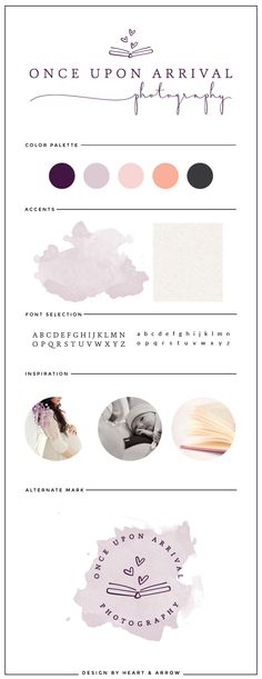 Brand board for Once Upon Arrival Photography | by Heart & Arrow