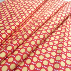 Robert Kaufman Screen Print D 13243 Roughing It by Laurie Wisbrun- Yellow dots and red background