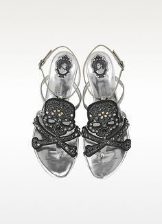 Pirate Crystal Leather Flat Sandal - Philipp Plein... Not exactly heels but I love them all the same.