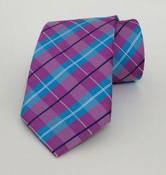 Pink and Blue Plaid Tie 8 cm (3,15 #handmadeatamazon #nazodesign
