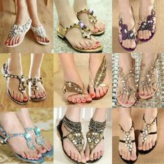 Offering Body Chain Jewelry and Sexy Body Jewelry Accessories For Women at discount prices. Bling Sandals, Cute Sandals, Flat Sandals, Pretty Sandals, Beaded Sandals, Flat Shoes, Fashion Shoes, Fashion Accessories, Fashion Fashion