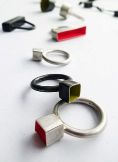 Tracey Falvey Silver and powder-coated rings by Tracey Falvey.