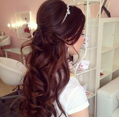 Half up half down wedding hairstyles, long hair, curls, waves